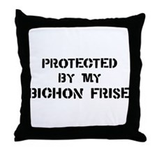 Protected by Bichon Frise Throw Pillow