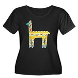 Llama-colors Women's Plus Size Scoop Neck Dark T-S
