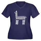 Llama-black & white Women's Plus Size V-Neck Dark