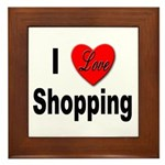 I Love Shopping Framed Tile