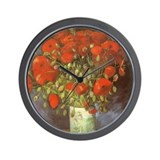 Van Gogh Red Poppies Wall Clock