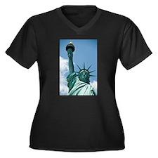 Liberty Women's Plus Size V-Neck Dark T-Shirt