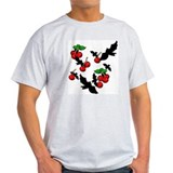 Gothic Bats & Cherries Ash Grey T-Shirt