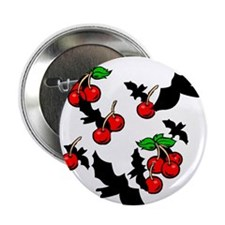 Gothic Bats & Cherries Button