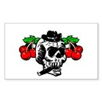 Rockabilly Cherries & Smoking Skull Sticker (Recta