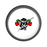 Rockabilly Cherries & Smoking Skull Wall Clock