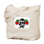Rockabilly Cherries & Smoking Skull Tote Bag