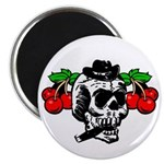 Rockabilly Cherries & Smoking Skull Magnet