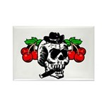 Rockabilly Cherries & Smoking Skull Rectangle Magn