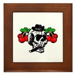 Rockabilly Cherries & Smoking Skull Framed Tile