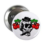 Rockabilly Cherries & Smoking Skull Button