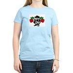 Rockabilly Cherries & Smoking Skull Women's Pink T