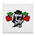 Rockabilly Cherries & Smoking Skull Tile Coaster