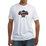 Rockabilly Cherries & Smoking Skull Fitted T-Shirt