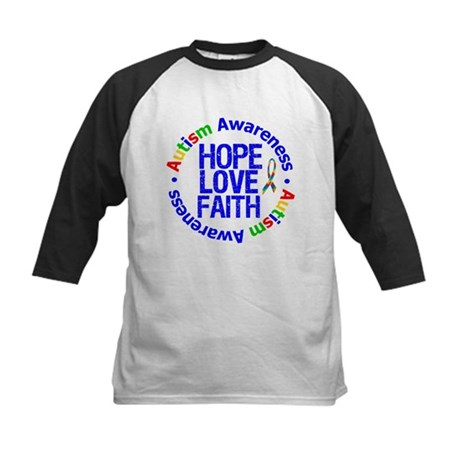 Autism HopeLoveFaith Kids Baseball Jersey