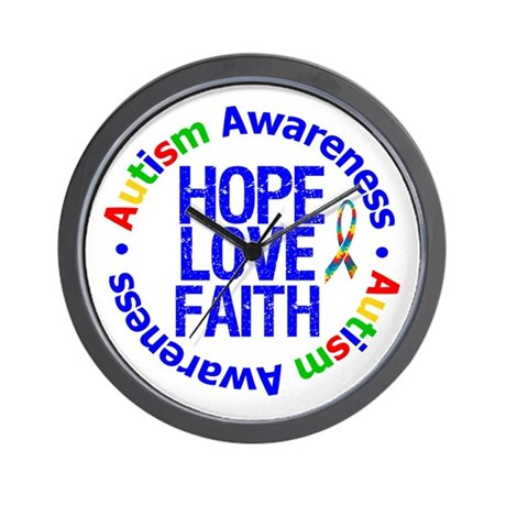 Autism HopeLoveFaith Wall Clock