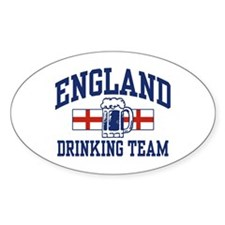 English Drinking Team Oval Sticker (10 pk)