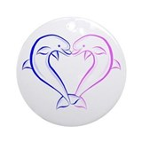 Dolphin Heart Blue and Pink Ornament (Round)