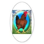 Broiler Opal Chicken Oval Sticker (10 pk)