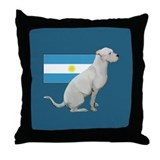 Dogo with Flag Throw Pillow