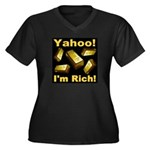 Yahoo! I'm Rich! Women's Plus Size V-Neck Dark T-S