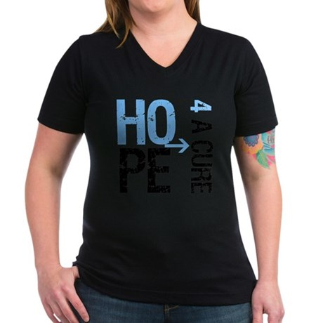 Hope Cure Prostate Cancer Women's V-Neck Dark T-Sh