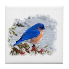 Bluebird in the snow Tile Coaster