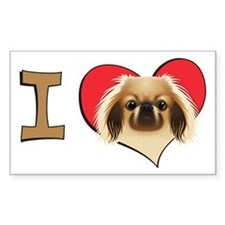 I heart pekingese Rectangle Decal