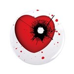 "Bullet Hole Heart 3.5"" Button"