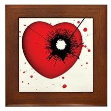 Bullet Hole Heart Framed Tile