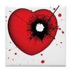 Bullet Hole Heart Tile Coaster