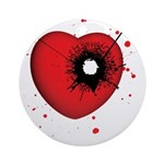 Bullet Hole Heart Ornament (Round)