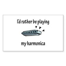 Playing My Harmonica Rectangle Sticker 10 pk)