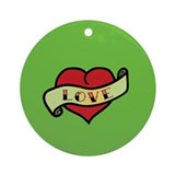 Love Tattoo Heart Ornament (Round)