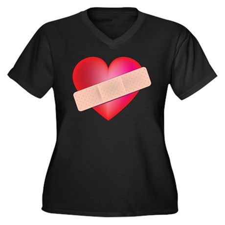 Healing Heart Women's Plus Size V-Neck Dark T-Shir