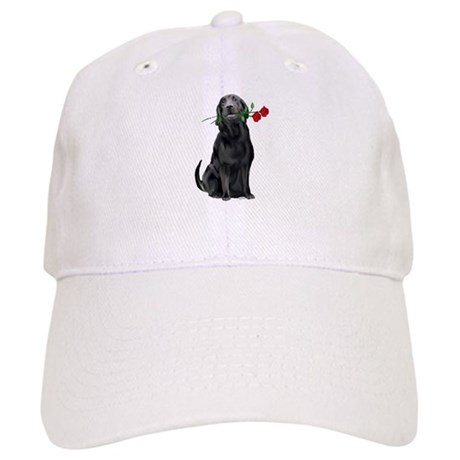 black lab with roses Cap
