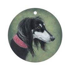 Saluki (Black and Silver) Ornament (Round)