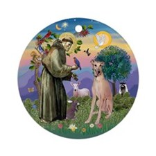 Saint Francis & Greyhound Ornament (Round)