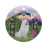 Samoyed under the rose arbor Ornament (Round)