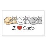 I Heart Cats Rectangle Sticker 50 pk)
