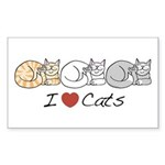 I Heart Cats Rectangle Sticker