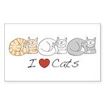 I Heart Cats Rectangle Sticker