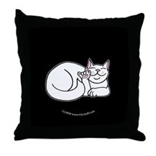 White ASL Kitty Black Throw Pillow