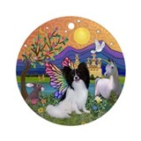 Papillon in Fantasy Land Ornament (Round)