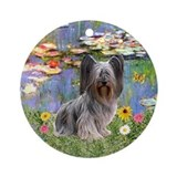 Skye Terrier in Monet's Lilies Ornament (Round)