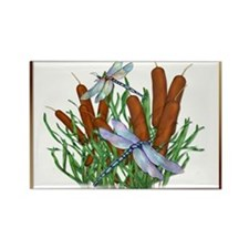 Dragonfly & Cattails Rectangle Magnet