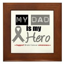 Brain Cancer Hero Dad Framed Tile