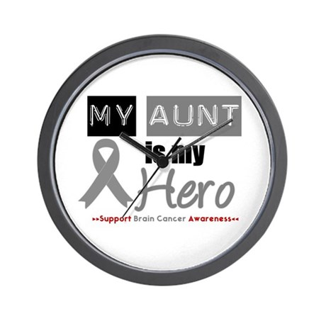Brain Cancer Hero Aunt Wall Clock