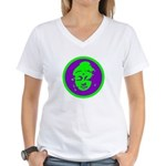 Green & Purple Buddah Women's V-Neck T-Shirt