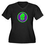 Green & Purple Buddah Women's Plus Size V-Neck Dar